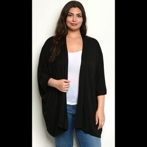 Sweaters - Black plus size open front kimono shawl cardigan